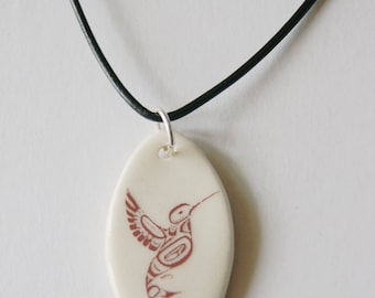 Hummingbird Pendant on a Black Leather Cord - Porcelain Pendant with Hummingbird Decal - Gift for Her