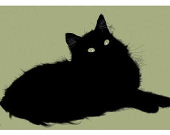 Cat Greeting Card, Blank, Clover Green Design No A6041