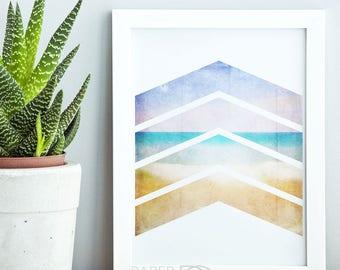 Geometric art, printable art, wall art, home decor, beach art print, watercolor print, beach decor, instant download, digital download