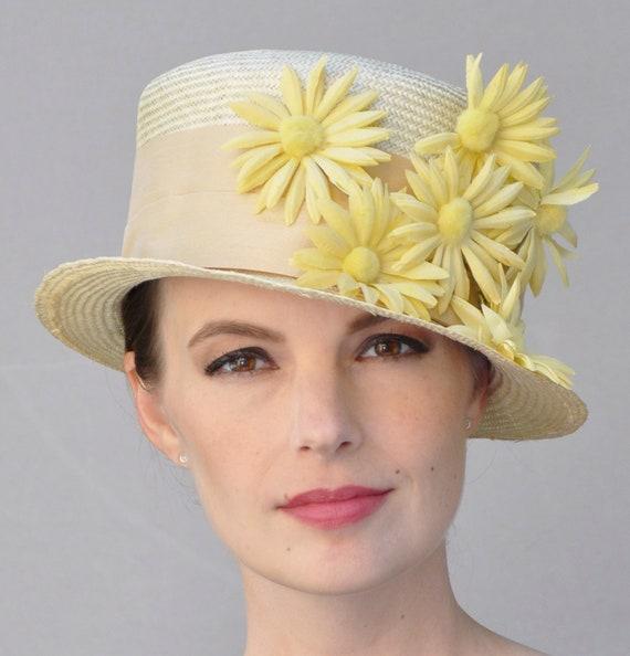 Wedding Hat, Derby hat, Kentucky Derby Hat, Ladies Yellow Hat