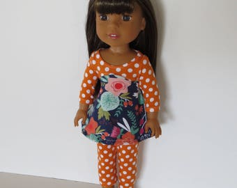 "Made To Fit Like 14.5"" Wellie Wishers Doll Clothes: Doll Leggings with Cotton Knit Dress; Dress for Wellie Wishers Doll"