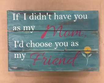 Mothers Day hand painted wood sign wall art planked 11X16