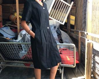 Elegant black linen dress