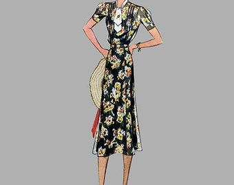 1930s Dress pattern McCall 9675 6 gore skirt, 3 sleeve length, Pleated short sleeve Front bodice pleats Size 18 Bust 36