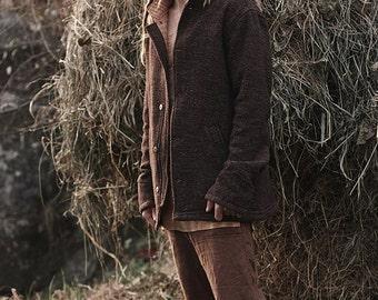 Brown wool Jacket with khadi Cotton
