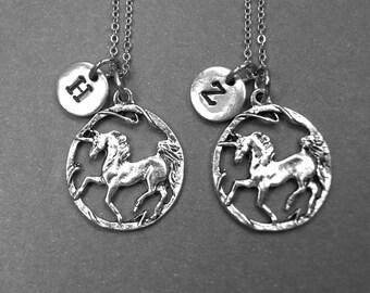 Best friend necklace, unicorn necklace, unicorn charm, best friend jewelry, friendship necklace, best friend gift, initial necklace