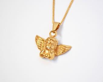 Angel etsy gold angel necklace aloadofball Images
