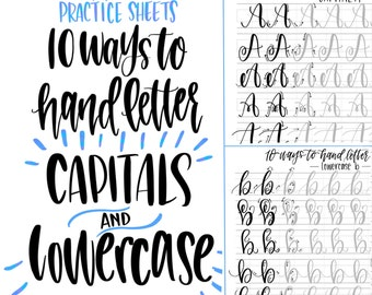 BUNDLE & Save! - Hand Lettering Practice Sheets | 10 Ways to Hand Letter the Alphabet | Uppercase | Lowercase | Learn Brush Calligraphy