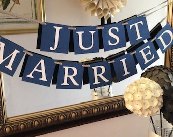 Just Married Banner Navy Wedding Banner Ready to Ship Today