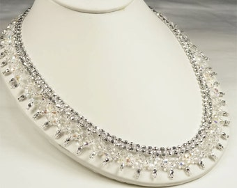 Bridal Statement Necklace, Crystal and Metallic Silver Beaded Picot Statement Bridal Necklace, Wedding Necklace - Alanna WN0183