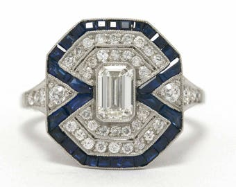 On Sale Art Deco Emerald Cut Diamond Statement Engagement Ring French Cut Blue Sapphire Accents Platinum Geometric Octagon Vintage Filigree