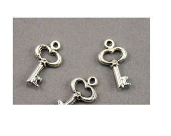 Set of 10 mini charms key lock padlock heart silver plated (D52)