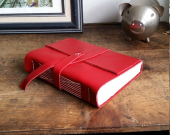 Handmade Leather Journal, Red 4.5 x 6 Journal by The Orange Windmill on Etsy 1820