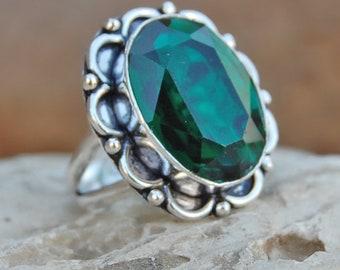 Dioptase quartz Ring, oval cut Dioptase quartz sterling silver ring, Dioptase quartz Solid silver ring Jewelry