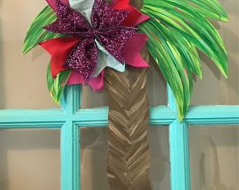 Tropical Palm Tree Wooden Door Hanger