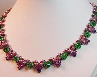 """Lavender and mauve 'garden' necklace - 18"""" long"""