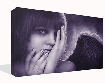 "Fantasy Crying Weeping Angel Canvas Print Wall Art Premium Quality 34"" x 20"""