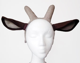 Goat Ears with Horns. Brown, Realistic.
