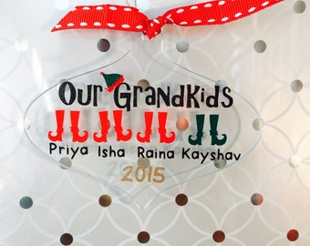 Personalized Acrylic Ornament + Christmas ornament + Grandkids + Kids + Personalized Christmas Ornament + Holiday ornament + Tree trimming