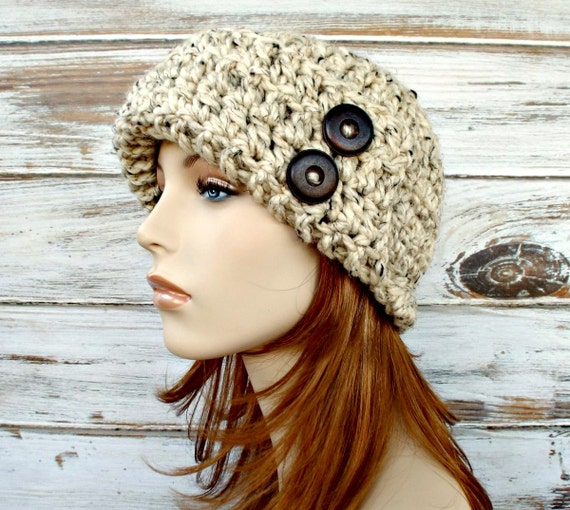 Crochet Hat Womens Hat 1920s Flapper Hat - Garbo Cloche Hat Oatmeal Crochet Hat - Oatmeal Hat Oatmeal Beanie Womens Accessories Winter Hat