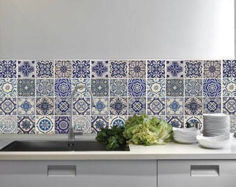 Vintage Blue Tiles Temporary Stickers/ Creative Kitchen Tile Backsplash/ PVC Stickers for Self-Adhesive Home Improvement/ Wall Art Mural