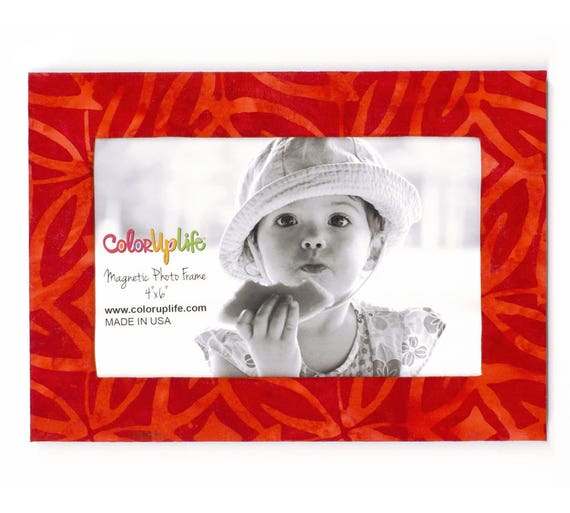 Magnetic Picture Frames - Red - Floral - 5x7 Frame - 4x6 Photo ...