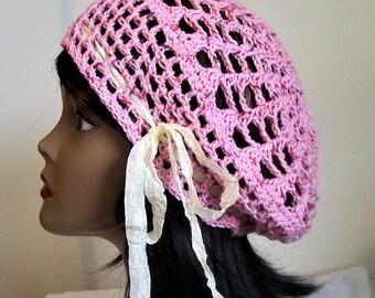 Pink Crochet Slouchy Beanie, Beret, Soft Cotton Hat, Tam, Boho Gypsy Style, Victorian Snood, Women's Hat, Teen Hat, Ladies Tam