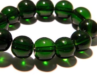 10 pearls 12 mm translucent glass - glass bead round - green-K14
