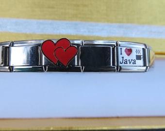 Bracelet Italian Charm Link Coffee Lover  Theme Silver Stretch Bracelet Gift