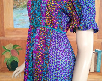 Flower Power Vintage 60's/70's Maxi Dress/Colorful Boho Cotton/Blue Pink Yellow Green/Hippie Hawaiian 1960 1970
