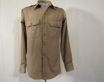 Vintage shirt, military shirt, Army shirt, 1940s shirt, khaki shirt, vintage clothing, small