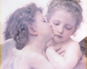 """Angel Cherub Art Print Adolphe William Bouguereau """"The First Kiss"""",  Vintage Shabby Chic Cottage Art Lithograph, Amish Art"""