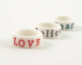 Personalized Letter Ring , Custom Initials Ring , Hand-Stamped White  Porcelain Ring  ,  Ceramic Jewelry, Love Ring  , Best Friend Ring
