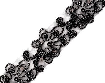 Sequin Ribbon and cord black lurex 510336