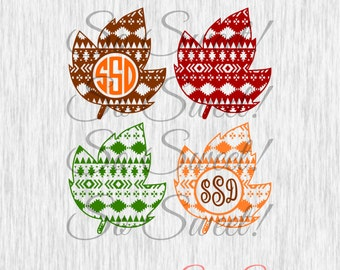 Fall Leaves SVG / DXF Patterned Fall Leaves Aztec Pattern Monogram Frame Fall Autumn Leaves Halloween Autumn Monogram Trendy Cute Aztec