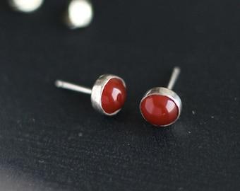 Carnelian Post Earrings Sterling- Free Shipping, sterling stud earrings, silver post earrings, silver studs, gemstone studs