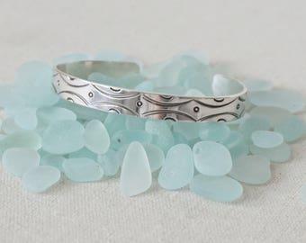Sterling Silver Handstamped Cuff Bracelet - Handstamped Jewelry, Sterling Silver Jewelry, Boho Jewelry, Boho Bracelet, Stacking Bracelet