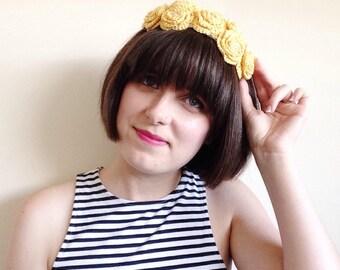 Yellow flower crown, yellow hairband, crochet flower crown, yellow wedding headpiece, yellow rose gold hairband, yellow festival headband