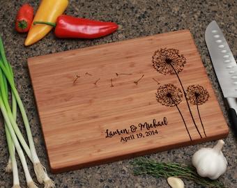 Personalized Cutting Board - Dandelion Design, Personalized Wedding Gift, Cutting Board, Christmas Gift, Personalized Gift, Anniversary Gift