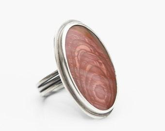 Imperial Jasper Ring, Jasper Ring, Boho Jasper Ring, Pink Jasper, Statement Ring, Gift for Her, Size 7.5