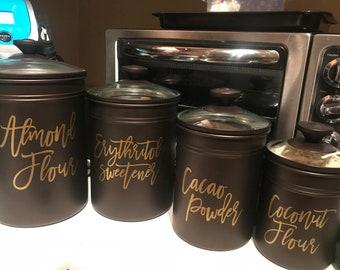 Modern Script Food Canister Labels, Pantry Labels, Jar Labels, Kitchen Pantry Organization Vinyl Decal Sticker
