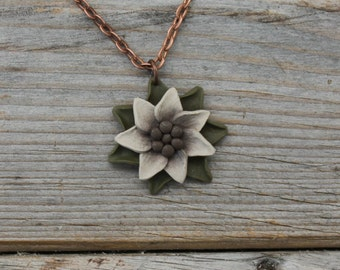 Whimsical Flower Pendant Necklace - Olive and White Layered Petals