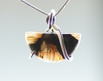 Petite Chiastolite Cold Forged Sterling Silver Pendant