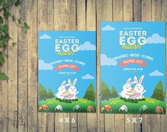 Instant Download , Easter Flyer Template   Easter Egg Hunt Invitation Card Template   Photoshop and MS Word Template