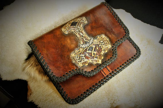 Tablet sleeve, ipad case, carved genuine leather, Viking, norse pattern, perfect gift for warrior