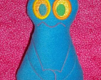 Handmade Stuffed Blue Knot head Monster - Fleece, Child Friendly