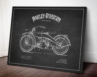 1924 Harley Davidson Motorcycle Patent, Canvas Print, Wall Art, Home Decor, Gift Idea, TRBM06C
