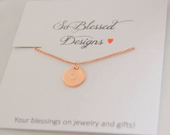 Rose Gold Initial necklace, Personalized Disc necklace, Initial Charm necklace, Dainty rose gold monogram necklace, Bridesmaid Gift