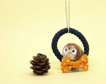 OWL necklace no bigger than a mini OWL pinecone
