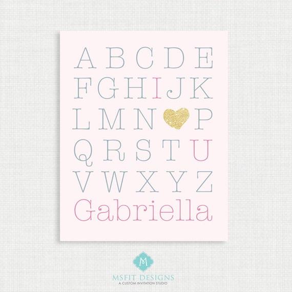 Printable Nursery Art- Alphabet Poster - Nursery Art Print - I Love You Print - 8x10- Kids Nursery Wall Art